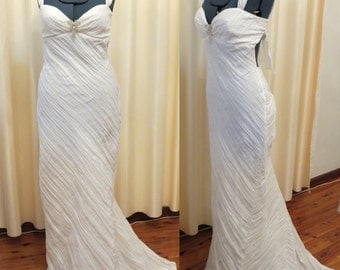 Sexy Off White Simple Backless Crinkle Effect Non Iron Beach Wedding Dress with Mermaid Tail Train and Rhinestone Butterfly Brooch