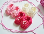 BESTSELLER Girl baby shower decorations: 3 pairs of little hand knitted baby mini booties with pearlised hearts - pink and white 2 inches