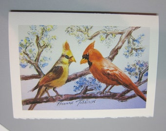 Cardinals watercolor print 5 x 7 note card Florida Red WatercolorsNmore, song birds
