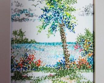 Tropical Garden Original Pointillism matted 8 x 10