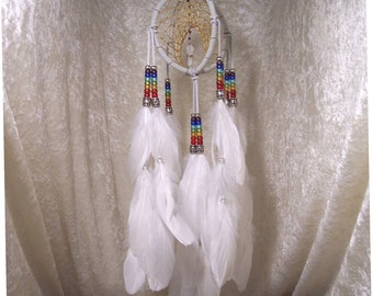 RAINBOW PENDULUM IX - 5 Inch Spirit Catcher in White by Feathered Dreams