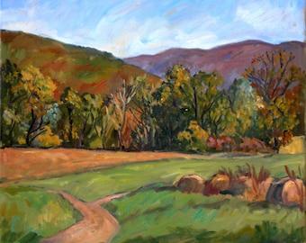 Toward Vermont, Autumn. Williamstown, Massachusetts. 16x16 Realist Oil Painting Landscape on Canvas, Signed Original Fine Art