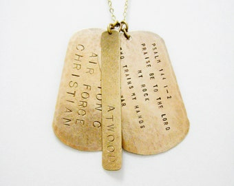MILITARY DOG TAGS : Custom Engraved Dog Tag Necklace