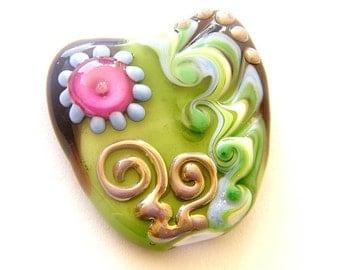 Valentine's Day heart focal bead - handmade Lampwork focal bead / pendant by binduglass