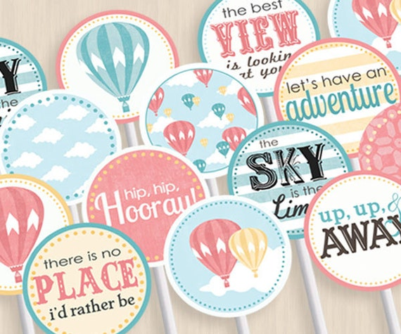 Attractive HOT AIR BALLOON Baby Shower Party Circles U0026 Cupcake Toppers In Coral And  Teal  Instant Printable Download