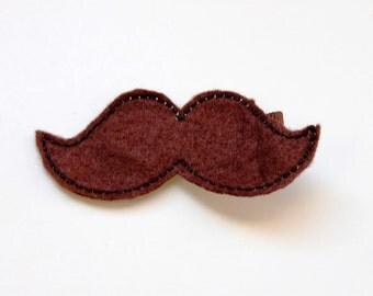 Mustache Wool Felt Hair Clip