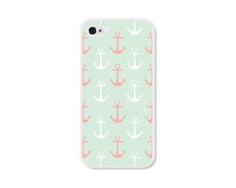 Anchor Apple iPhone 4 Case - Plastic iPhone 4s Case - Nautical iPhone Case Skin - Mint Green Peach Pink White Cell Phone