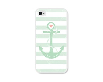 Striped Anchor Apple iPhone 4 Case - Plastic iPhone 4s Case - Nautical iPhone Case Skin - Mint Green Peach Pink White Cell Phone