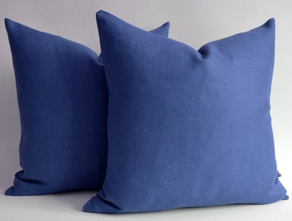 sukan 1 navy blue linen pillow shams d ecorative throw by sukan. Black Bedroom Furniture Sets. Home Design Ideas