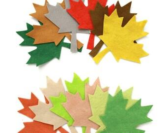 12 Piece Die Cut Felt Maple Autumn Leaves