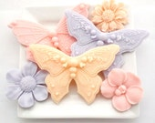 Butterfly and Flower Soaps - Decorative Soap Hostess Gift Soap Vegan Pink Orange Purple Gift Set