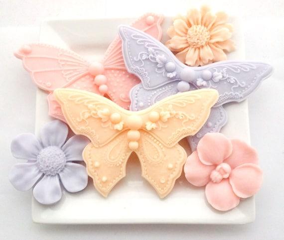 spring wedding favor butterfly flower soap