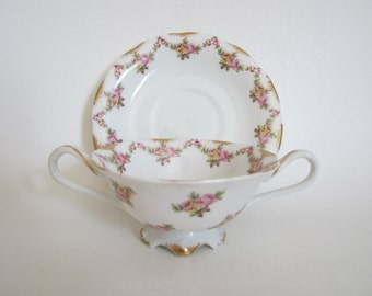 Antique T&V Limoges Bouillon Broth Cream Soup Cup and Saucer  Higgins Seiter NY