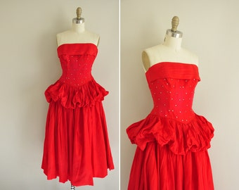 vintage 1950s dress / 50s red strapless party dress / 1950s rhinestone covered prom dress