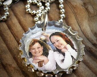 Custom 1 Charm Photo Bottle Cap Necklace