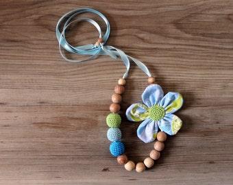Blue Lime Nursing Necklace / Teething necklace / Babywearing Necklace