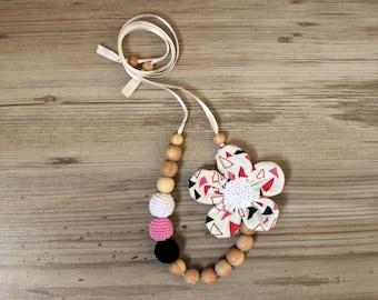 Geometric Print Nursing Necklace /Moms Teething necklace / Babywearing Necklace