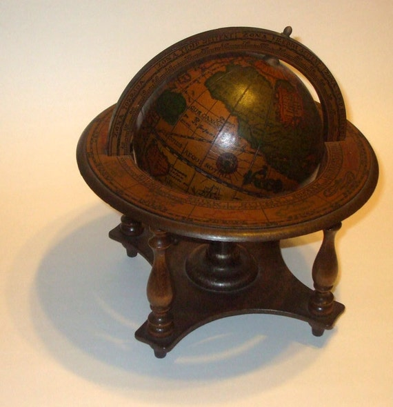 Vintage Petite Wooden Old World Globe Made In Italy