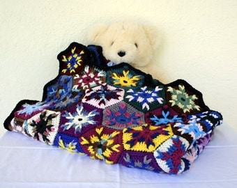 Crochet scrap yarn afghan colorful throw granny square blanket hexagon motifs multicolored home decor coverlet bedding