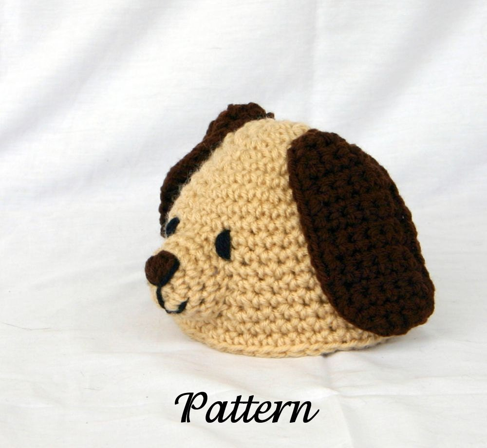 Crochet Pattern Baby Dog Hat : Baby Puppy Hat PDF Crochet PATTERN 0-6 month sizes beanie