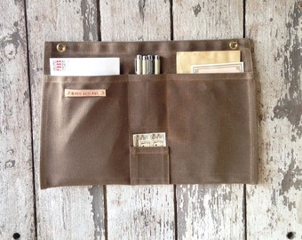 Waxed Canvas Wall Organizer in Spice, Office Decor, Home Decor, Hanging Mail Organizer, Craft Storage, Gift for Her, Christmas Gift, Wife