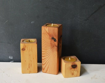 Smoke Stacks- 3 Candle Holders by Peg and Awl
