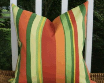 SALE ~ Outdoor Decorative Pillow Cover: Orange, Yellow and Green Stripe 18 X 18 Outdoor Pillow Cover