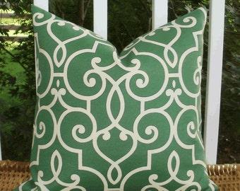 SALE ~ Home Decor Outdoor Pillow: Decorative 18 X 18 Pillow Cover in HGTV Jade Treillage Design