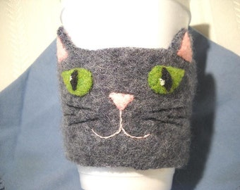 Felted Wool Cat Coffee Cozy