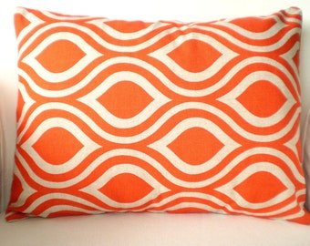 Orange Pillow Cover, Lumbar Throw Pillows, Decorative Pillows, Cushion Covers, Orange on Darker Natural Nicole Various Sizes