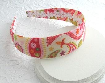 Fabric Covered Headband ~ Cute Girls Headband, Bright Paisley Fabric Hard Headband, Girls and Adults Fabric Headband