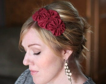 Cranberry Red Flower Trio Headband for Women and Girls