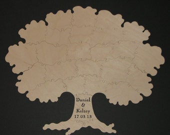 15 pc TREE Wedding Guest Book - Hand Cut Wooden Jigsaw Puzzle