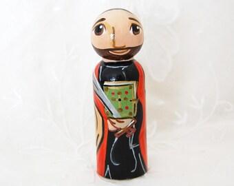 Saint Bartholomew the Apostle Catholic Saint Doll - Wooden Toy - Made to Order