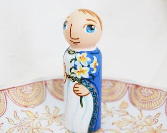 Saint Gabriel Archangel Catholic Saint Doll - Wooden Toy - Made to Order