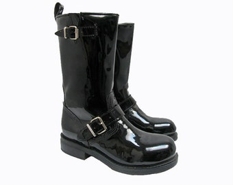 Black Patent Leather Motorcycle Boots Womens Steel Toe Muro Biker Boots Womens US size 6