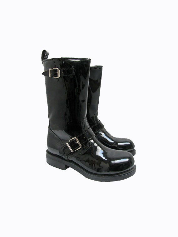 black patent leather motorcycle boots womens steel toe muro