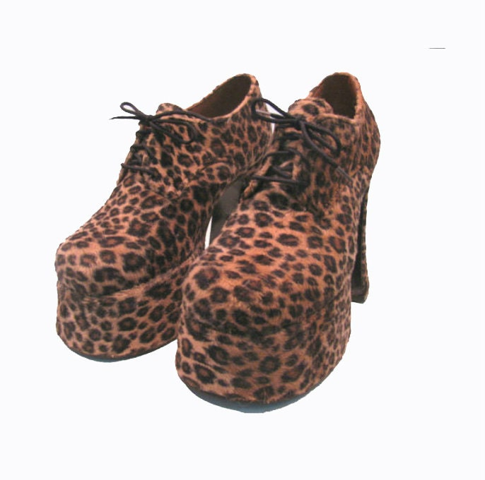 leopard platform shoes from vintage glam by