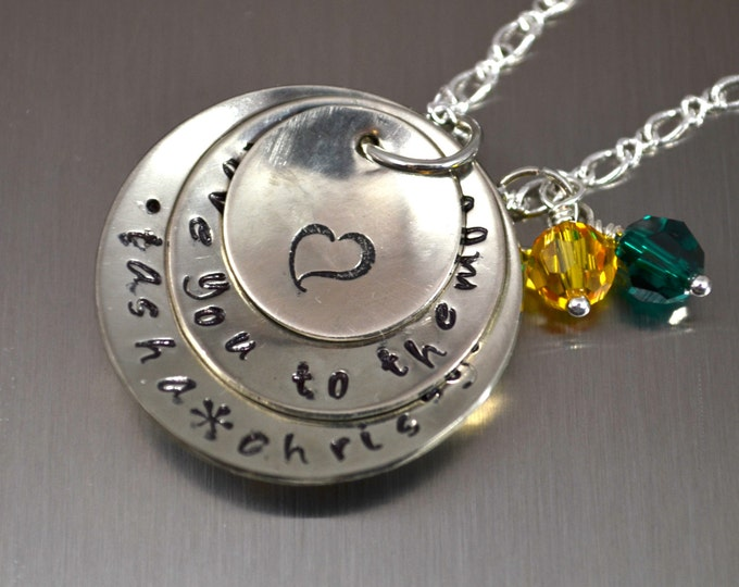 Personalized Mother Necklace, Charm Necklace, Mother's Day, Grandmother Necklace, Child Name, Hand Stamped