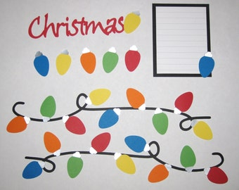 CHRISTMAS String of LIghts Page Layout Scrapbook Border Set - Premade 12X12