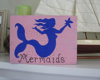Mermaids Coastal Sign Pink and Purple--Or -Pick your colors----Room Decor---Beach Theme