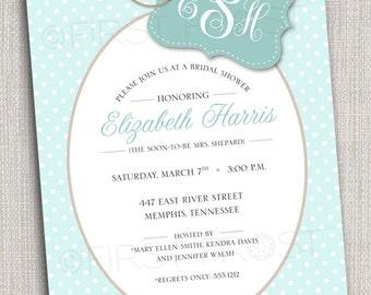 Monogram Printable Invitation - Wedding Bridal Shower Tea Luncheon