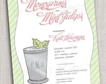 Monogram and Mint Juleps Printable Invitation - Wedding Bridal Shower Tea Luncheon