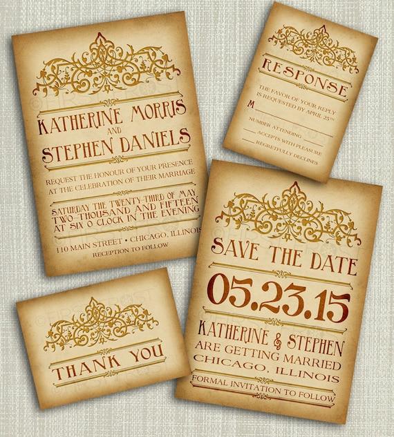 il_570xn - Vintage Style Wedding Invitations