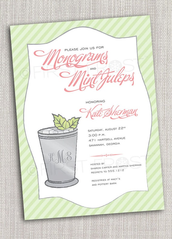 Monogram and Mint Juleps Printable Invitation Wedding Bridal