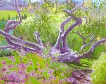 Maui plein air painting - tree art - tree painting - Kula Botanical Garden tree lavender purple green lime pink violet garden art original