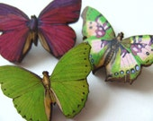 Set of three, wooden, Brooch,  butterfly brooches, wood, black, pink, green, purple, by NewellsJewels on etsy