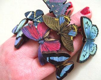 Phantom Butterfly, adjustable ring, wooden butterflies, butterfly ring, by NewellsJewels on etsy