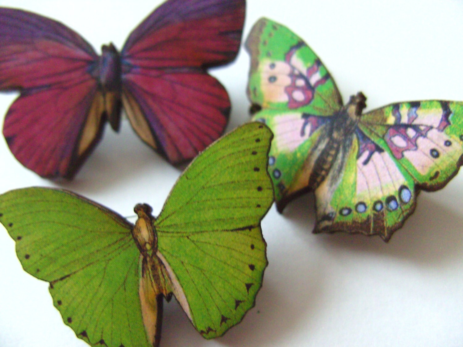 Set of three wooden Brooch butterfly brooches wood pink - photo#16