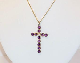 SALE Vintage Amethyst Pearl Cross Pendant, Jewelry